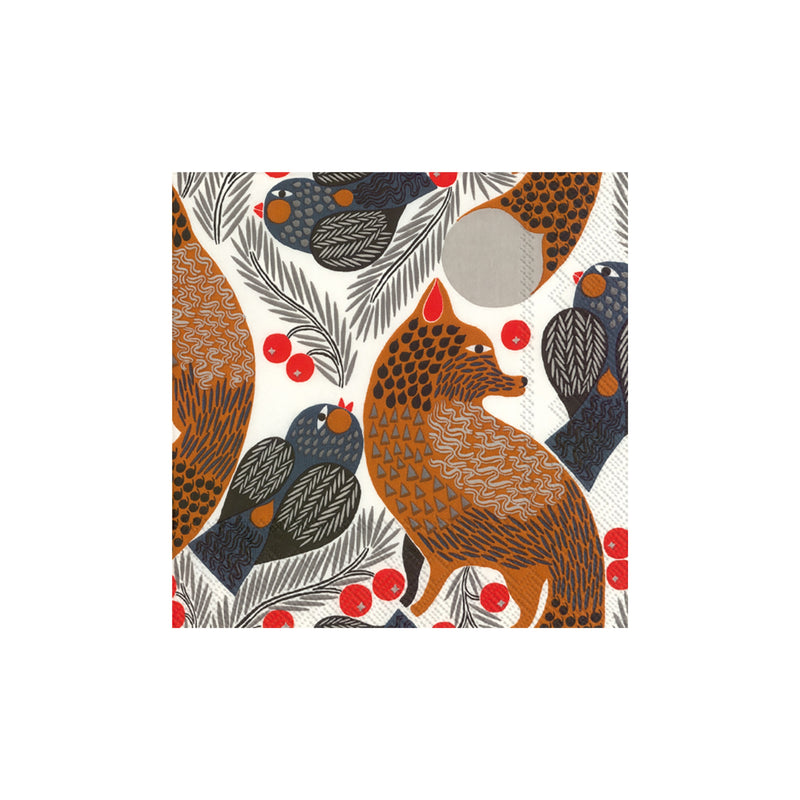 Marimekko KETUNMARJA Cocktail Napkins White Brown