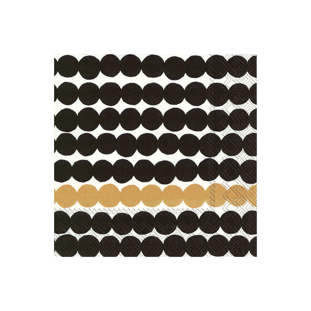 Marimekko RÄSYMATTO Lunch Napkins Black White Gold