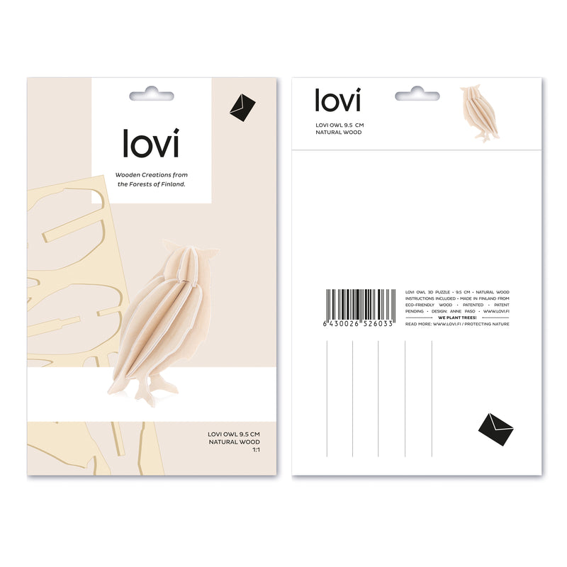 "Lovi OWL (3.7"" / 9.5 cm) Natural Packaging"