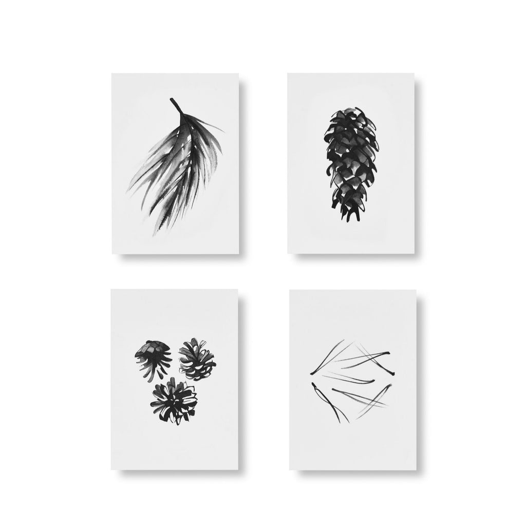 Teemu Järvi CONIFER ART CARDS Set of 4 (spruce and pine cones, pine needles and a conifer branch)