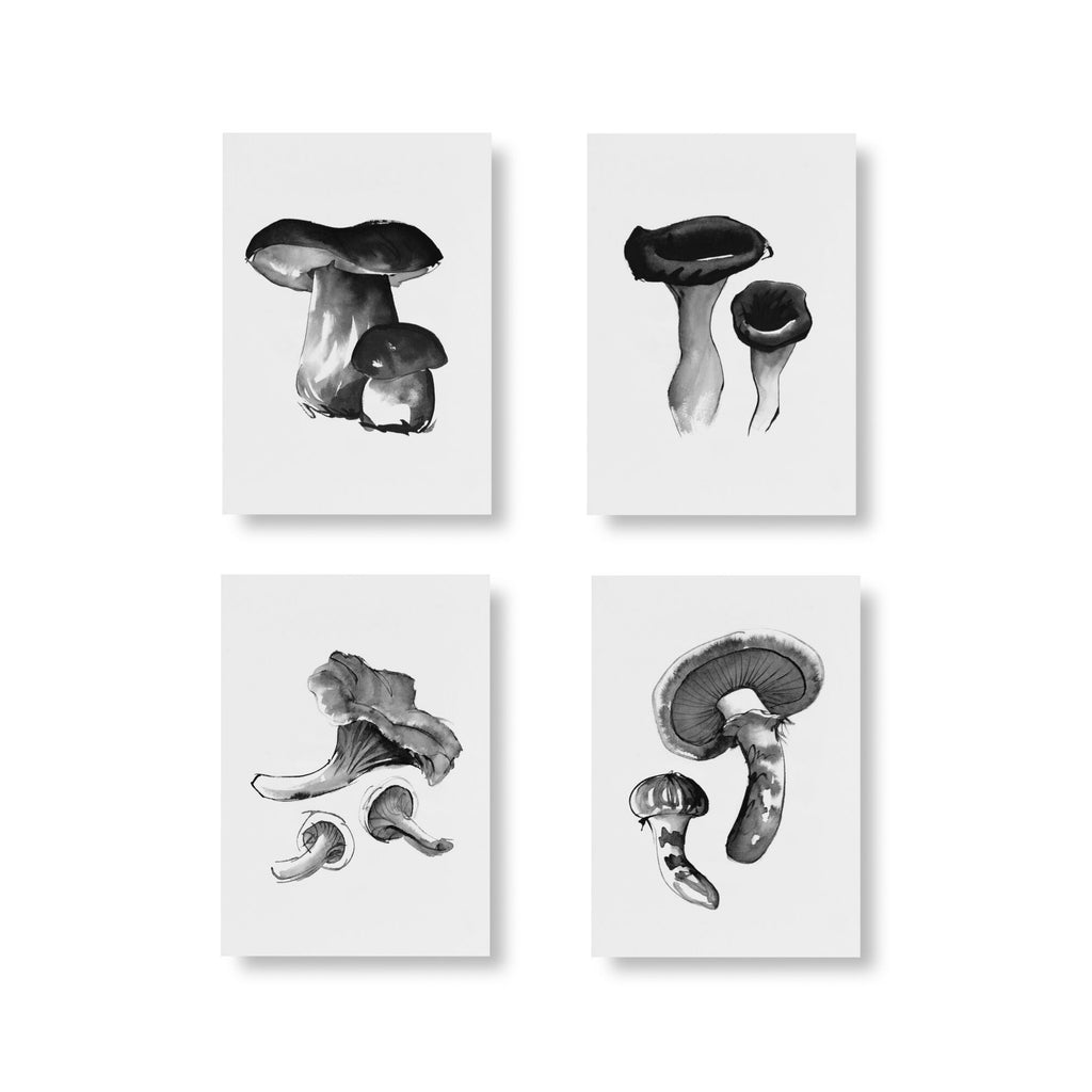 Teemu Järvi WILD MUSHROOM ART CARDS Set of 4 (Porcini, Chanterelle, Black Trumpet and Matsutake)