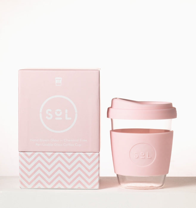 Solcup Re-Usable Glass Coffee Cup 12oz - Perfect Pink