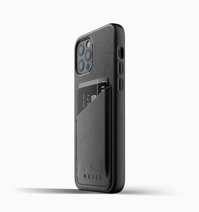 Mujjo Full Leather Wallet Case for iPhone 12 & 12 Pro - Black