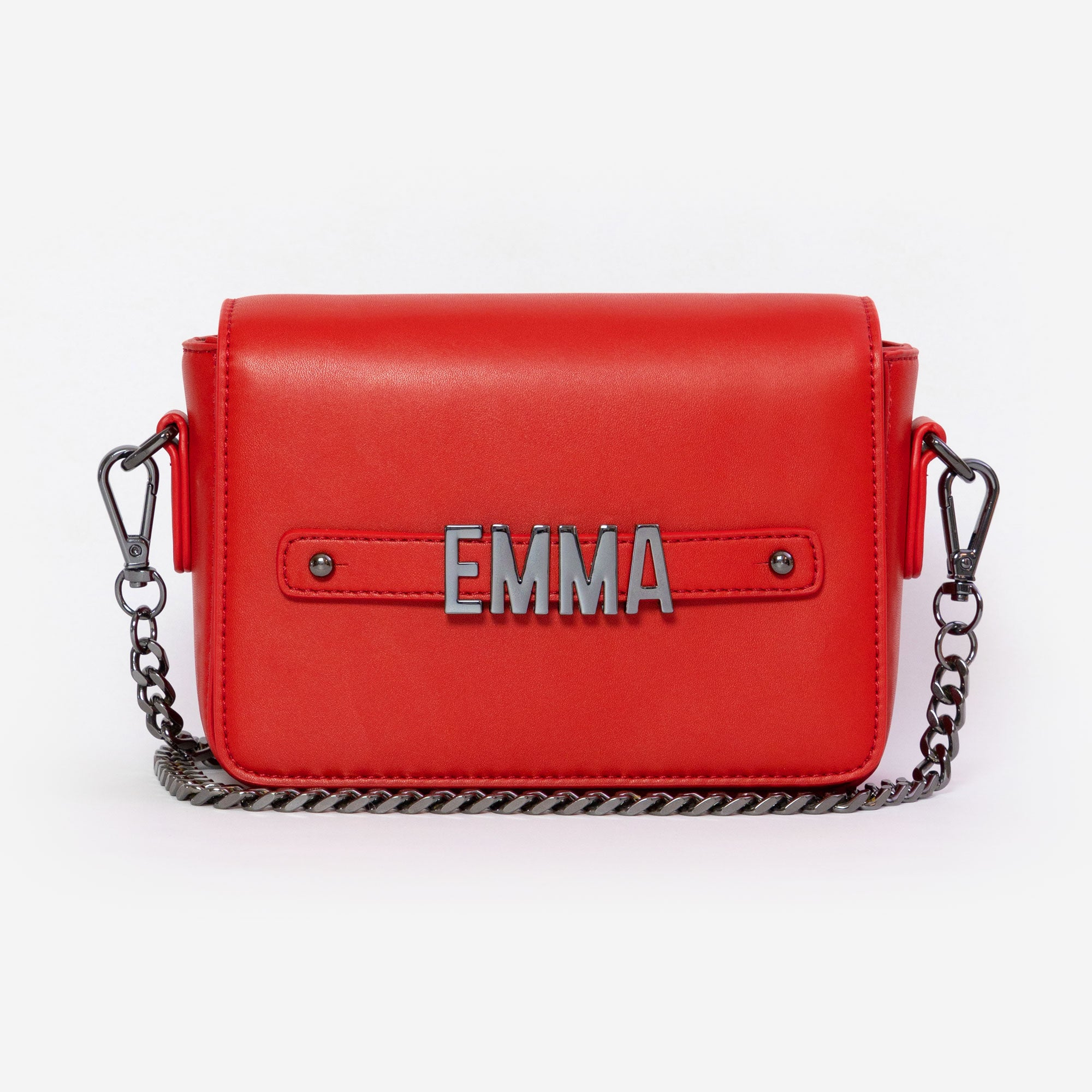 Red Crossbody Bag with Personalised Hardware