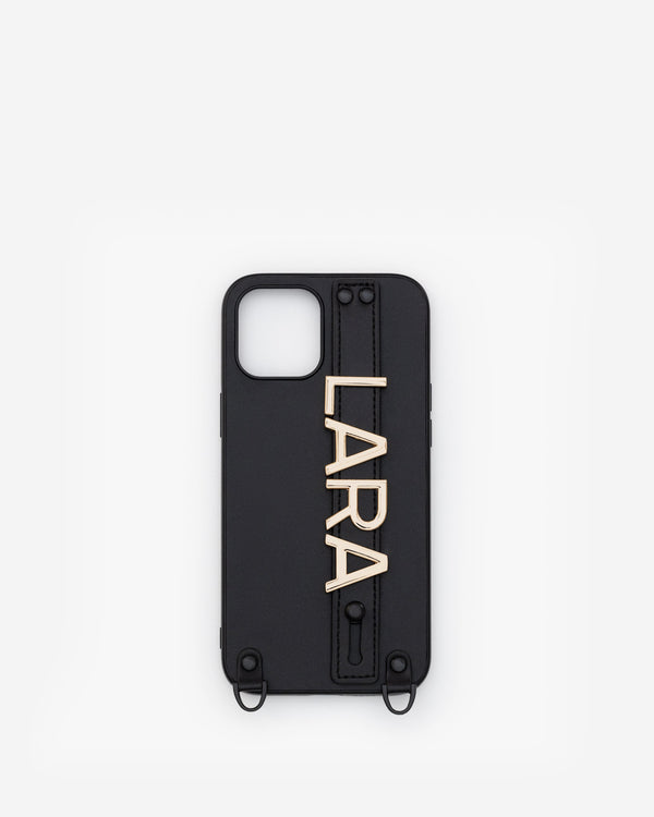 iPhone 12 Pro Max Case in Black/Gold with Personalised Hardware