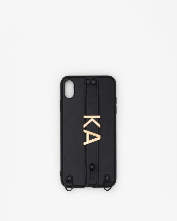 iPhone XS Max Case in Black/Gold with Personalised Hardware