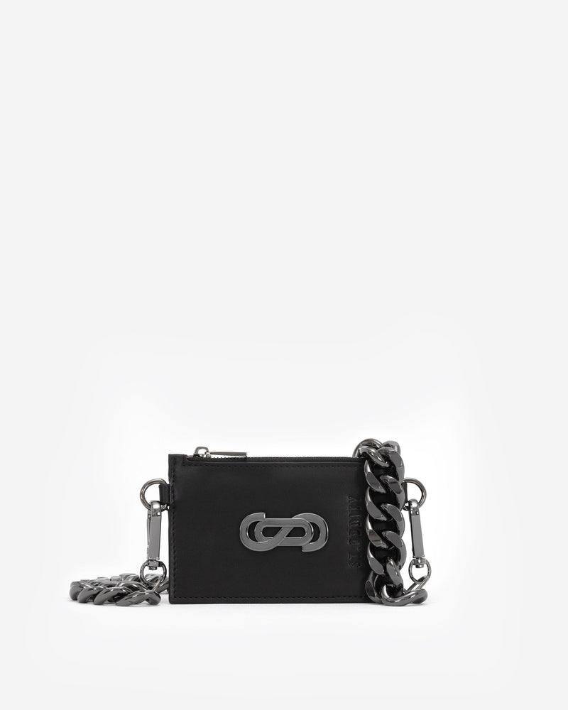 Motif Cardholder with Oversized Chain in Gunmetal