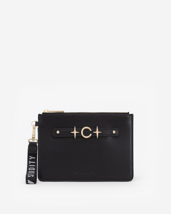 Pouch in Black/Gold with Personalised Hardware