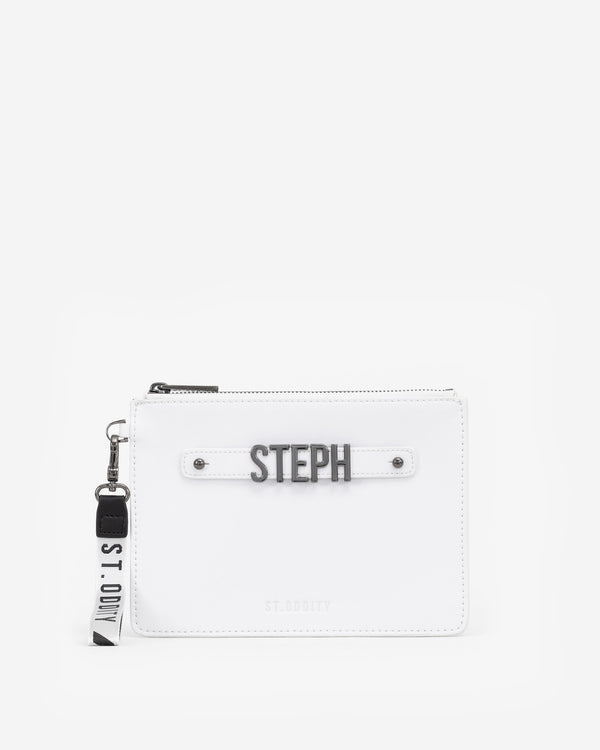 Pouch in White with Personalised Hardware