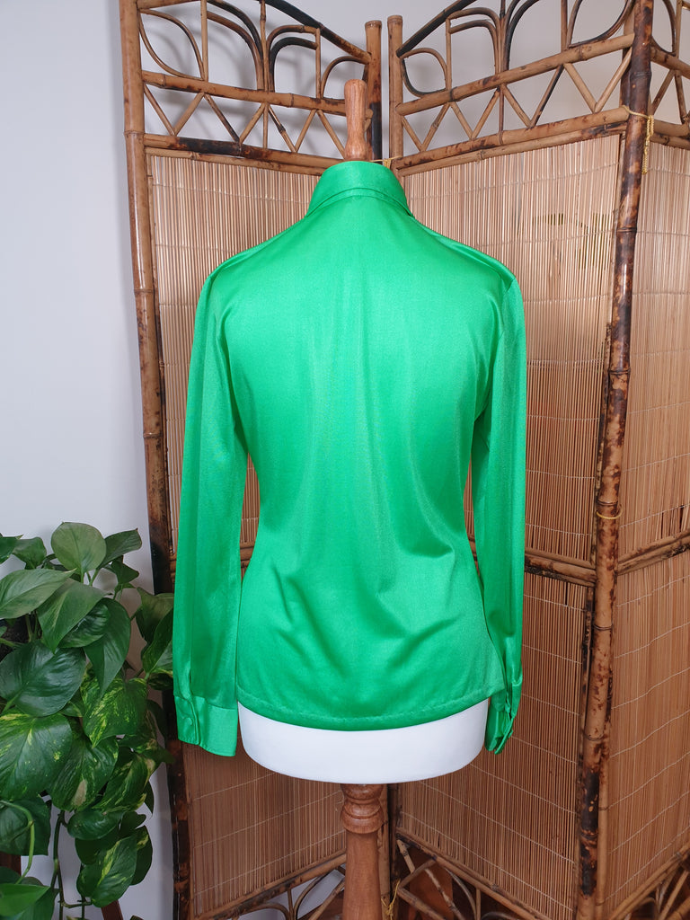 70's Lime Green Dagger Collar Shirt