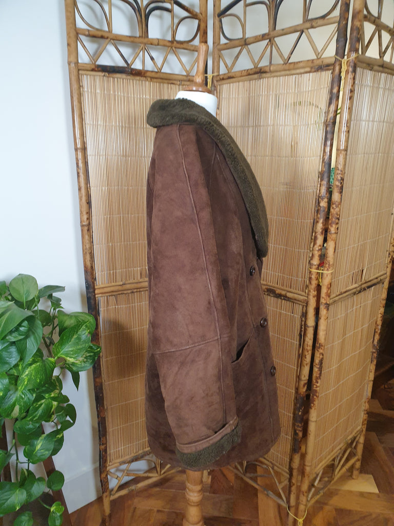 1970's Brown Double Breasted Genuine Sheepskin Coat