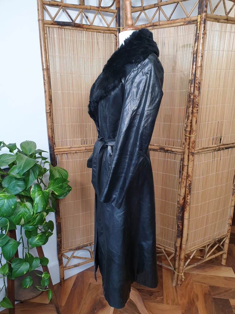 Genuine 90's Leather Trench Coat with Real Black Fur Collar