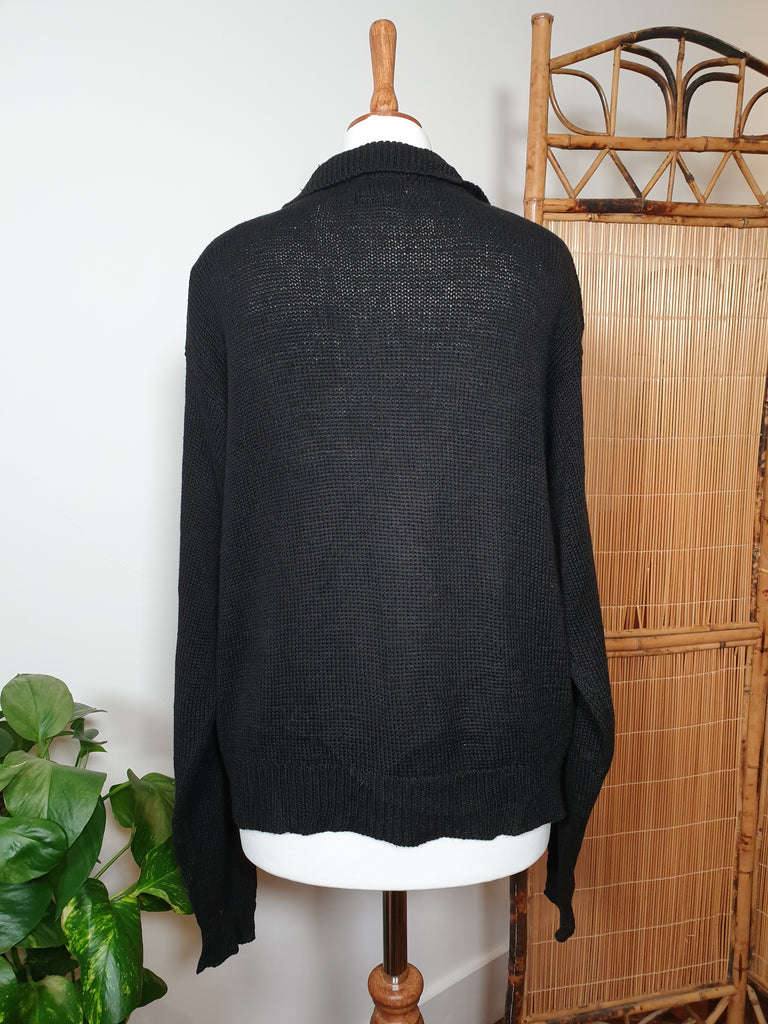 90's Black Cardigan with Beaded Flower Applique