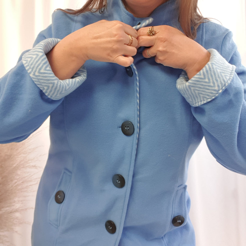 Light Blue Fleece Jacket with Turn up cuffs