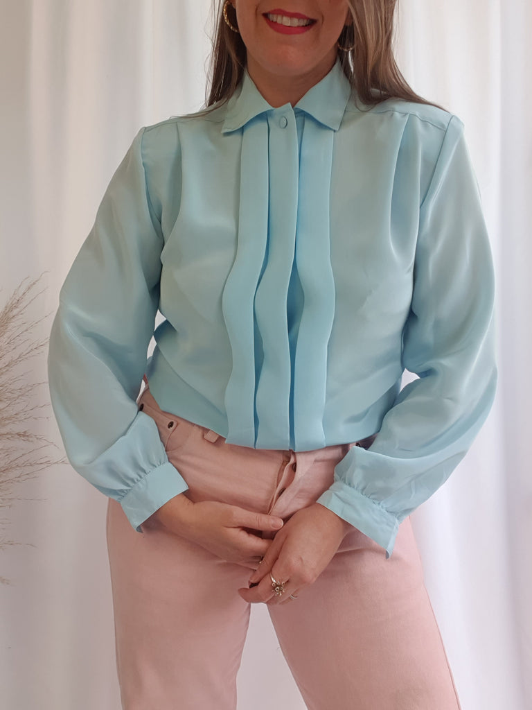 Vintage 80's Pale Blue Blouse with Box Pleats