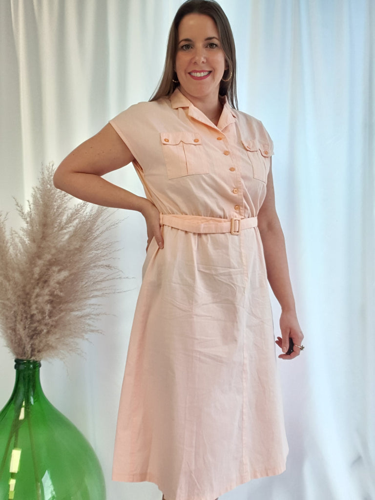 Vintage 80's C&A Peach Cotton Utility Dress