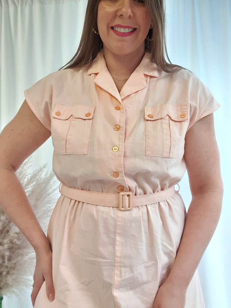 Vintage80's C&A Peach Cotton Utility Dress