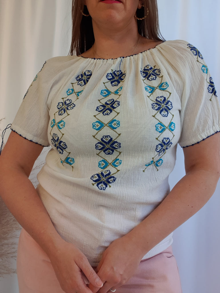 Vintage Blue and White Embroidered Folk Top