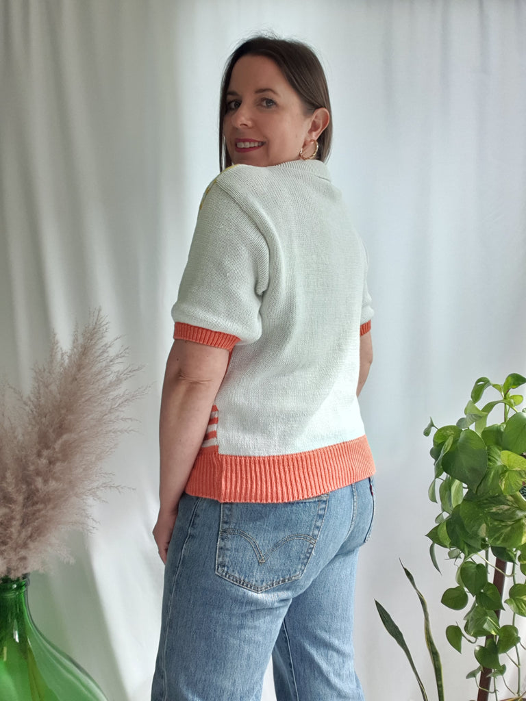 Vintage 1980's Beach House Knitted Top with Collar