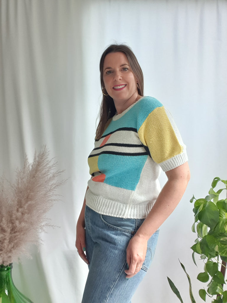 Vintage 1980's Mondrian Inspired Knitted Top