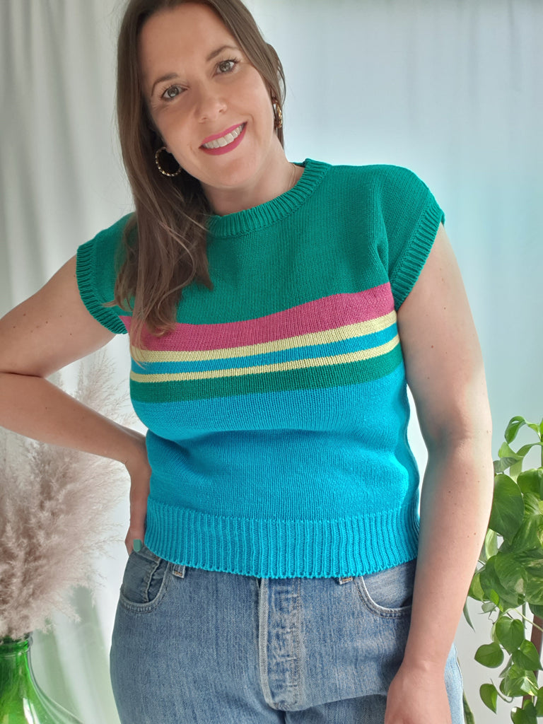 Vintage 80's Mulitcoloured Stripe Knitted Top
