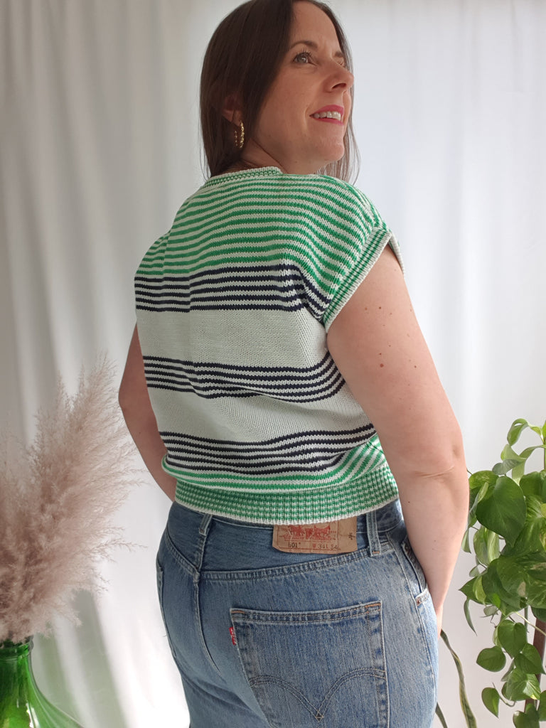 Vintage 1980's Green, Black and White Striped Knitted Top