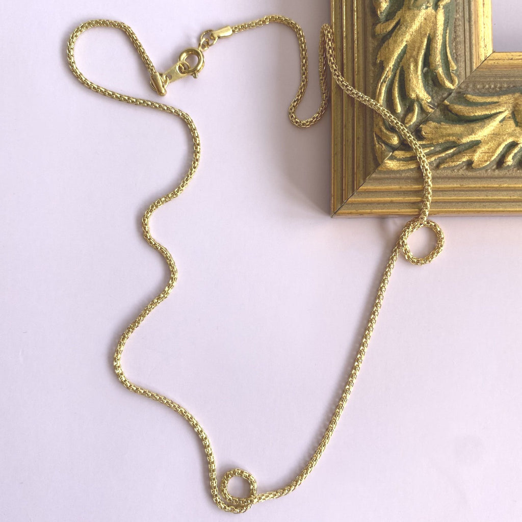 Vintage Gold Plated Mesh Chain Necklace 18""