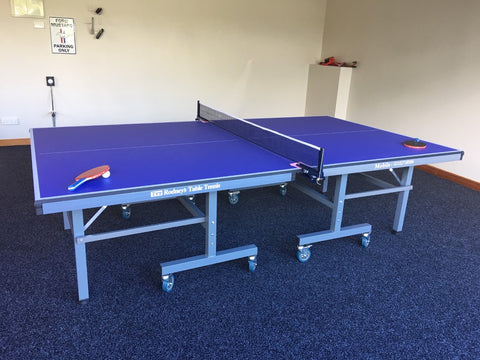 18mm Table Tennis table, fold up playback, big wheels 4 bats 6 balls and a great net