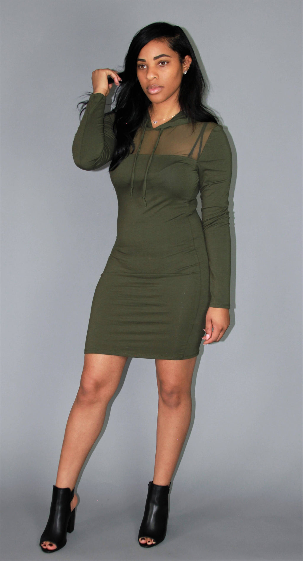 DOWN 2 EARTH OLIVE MESH DRESS