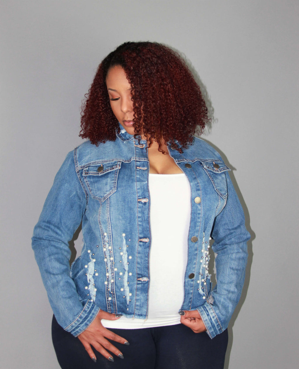 PLUS SIZE- TWELVE PEARLS DENIM JACKET