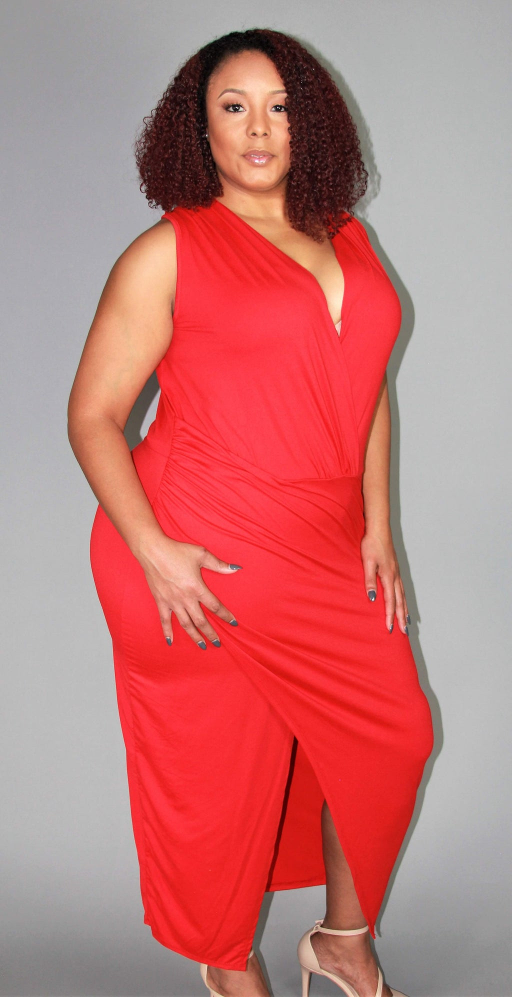PLUS SIZE - SCARLET WRAP DRESS