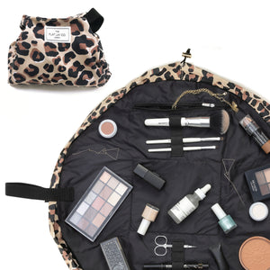 Leopard Print Full Size Flat Lay Makeup Bag