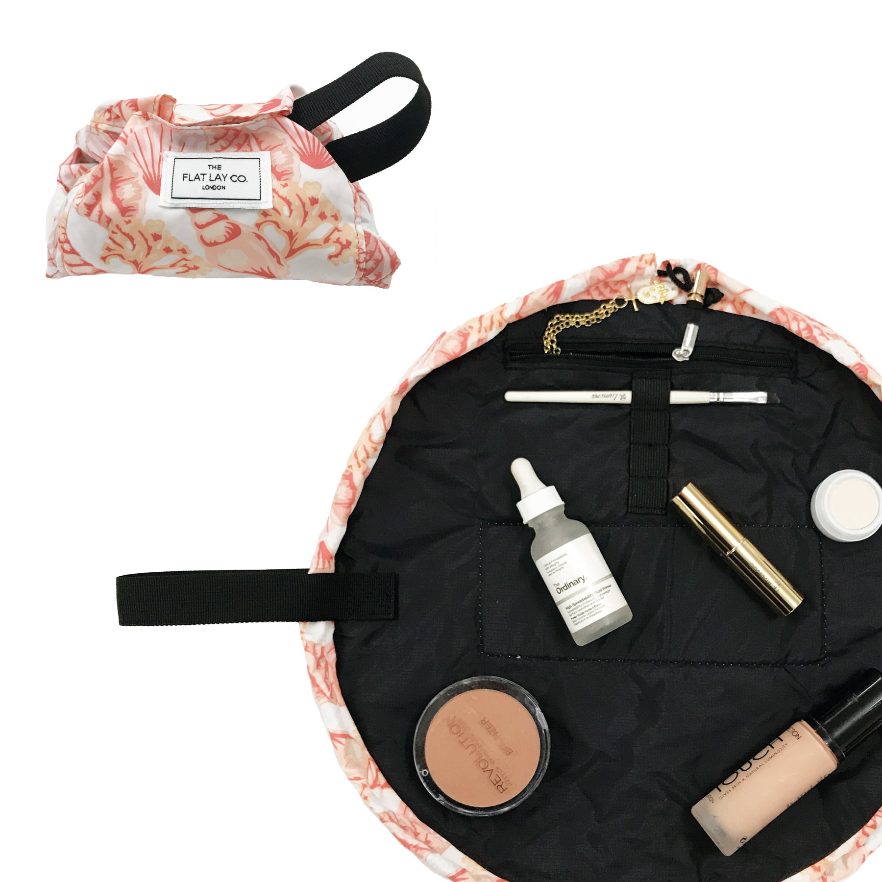 Mini Open Flat Makeup Bag Pink Shells