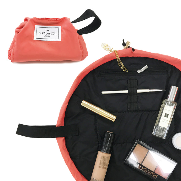 Mini Open Flat Makeup Bag Coral