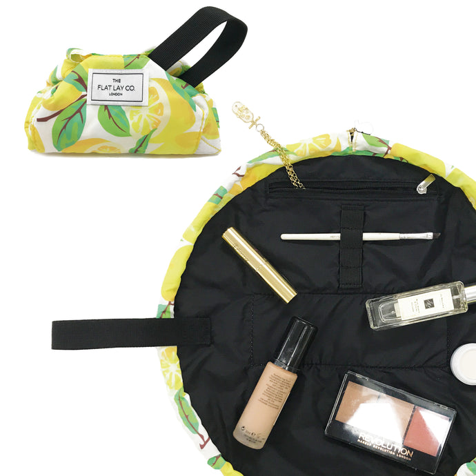 Mini Open Flat Makeup Bag Lemons