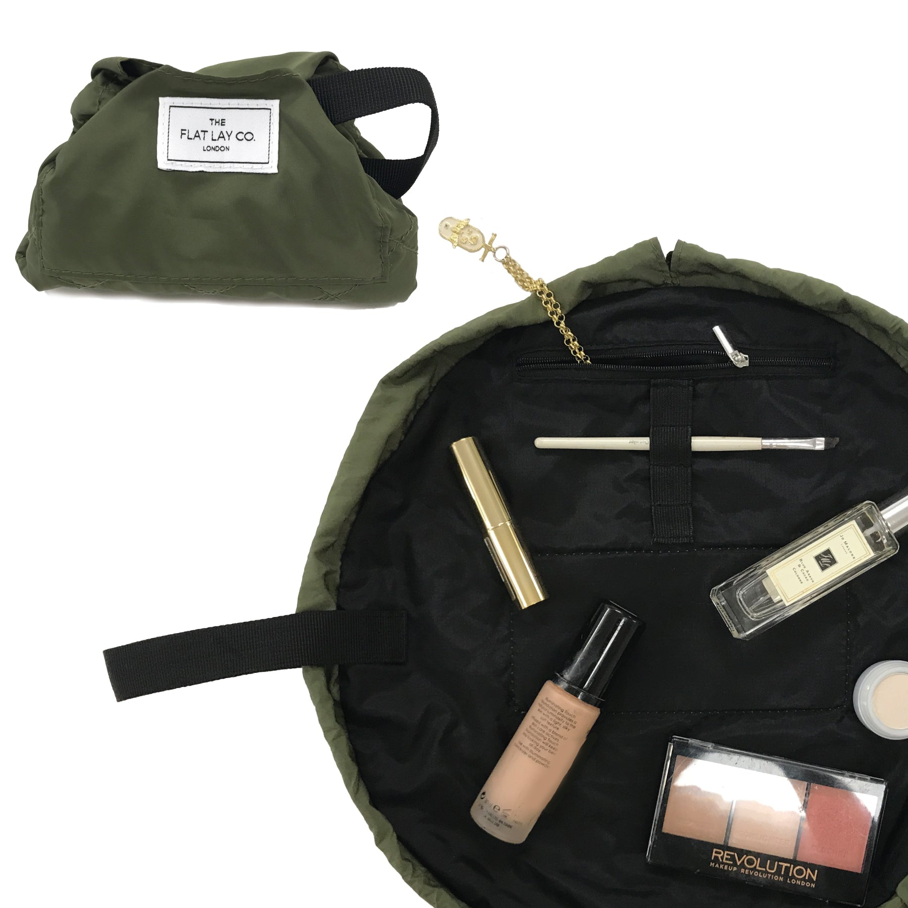 Mini Open Flat Makeup Bag Utility Green