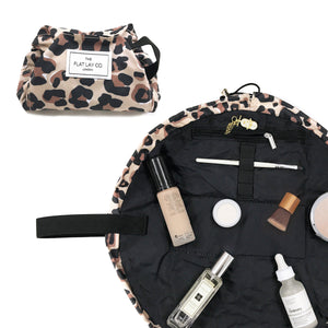 Mini Open Flat Makeup Bag Leopard