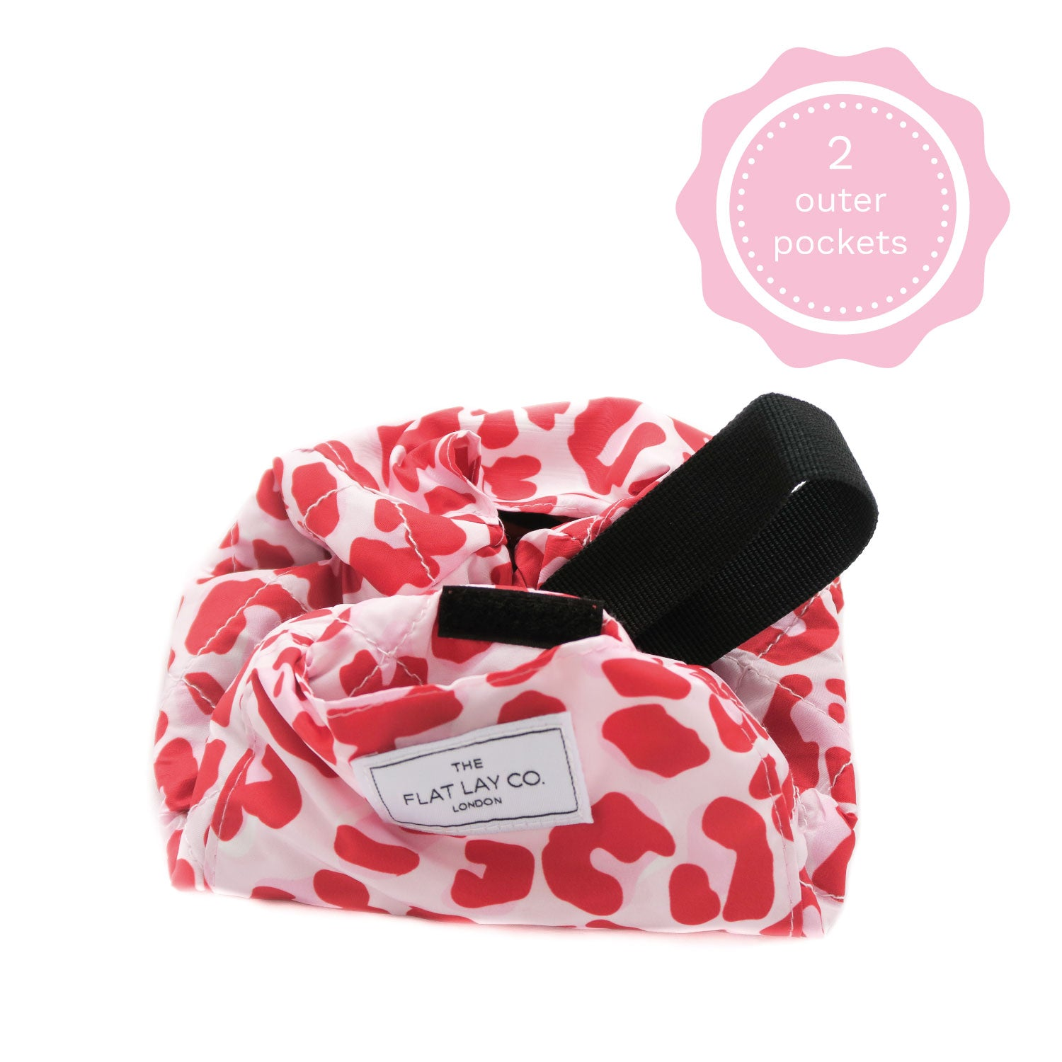 Mini Open Flat Makeup Bag Pink Leopard