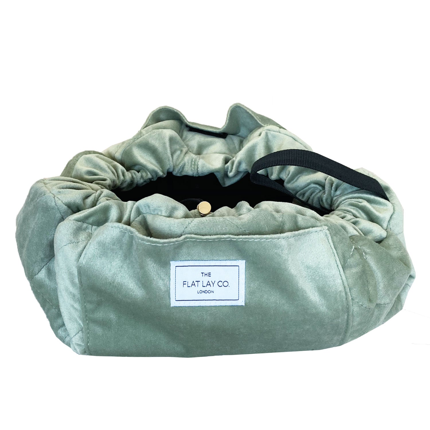Sage Green Velvet Full Size Flat Lay Makeup Bag