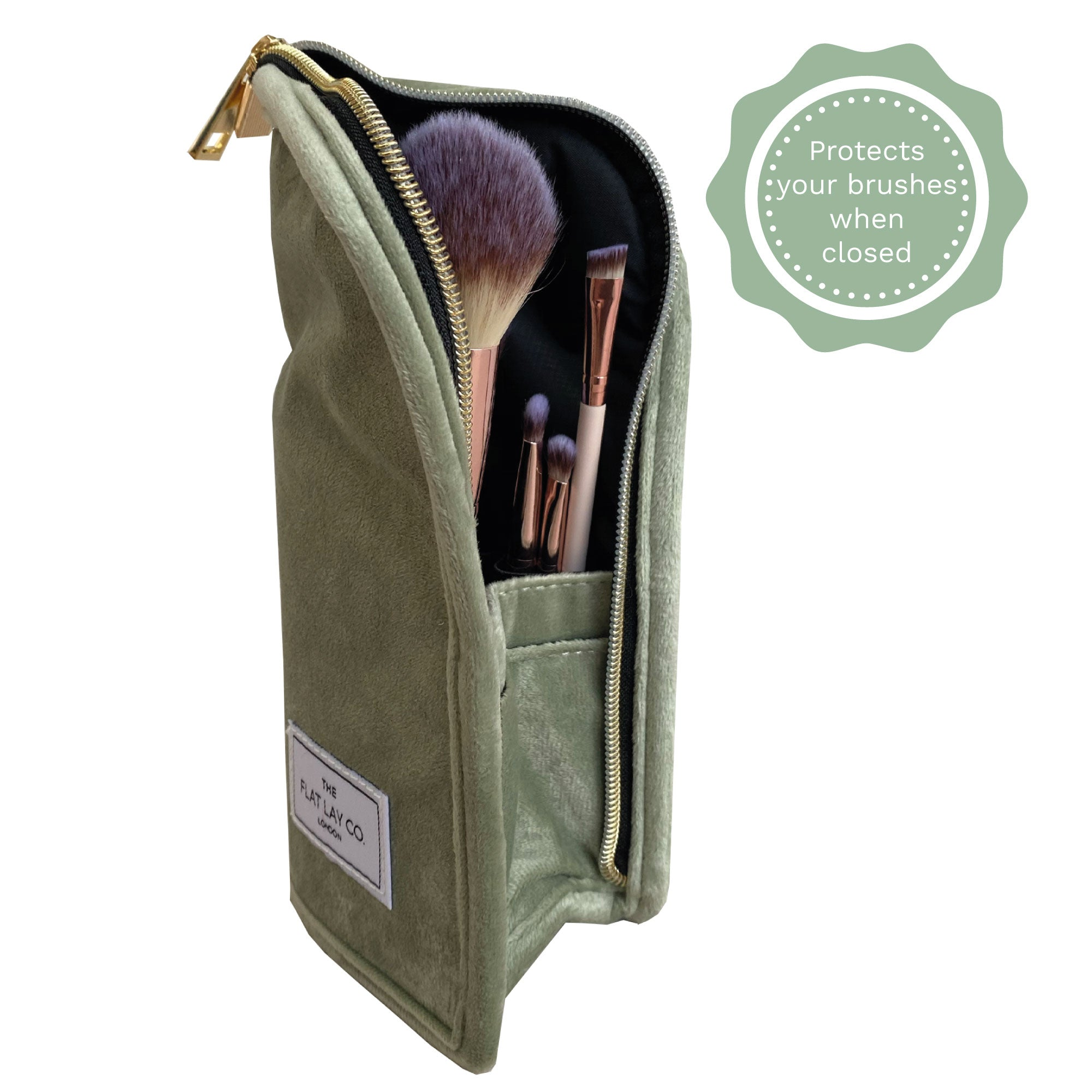 Sage Green Velvet Standing Brush Case
