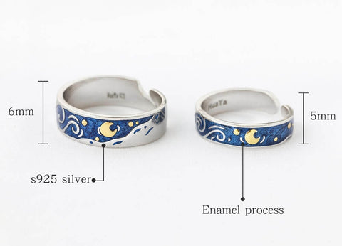 starry night ring vincent van gogh couple set 2019 dainty ring art artistic ring