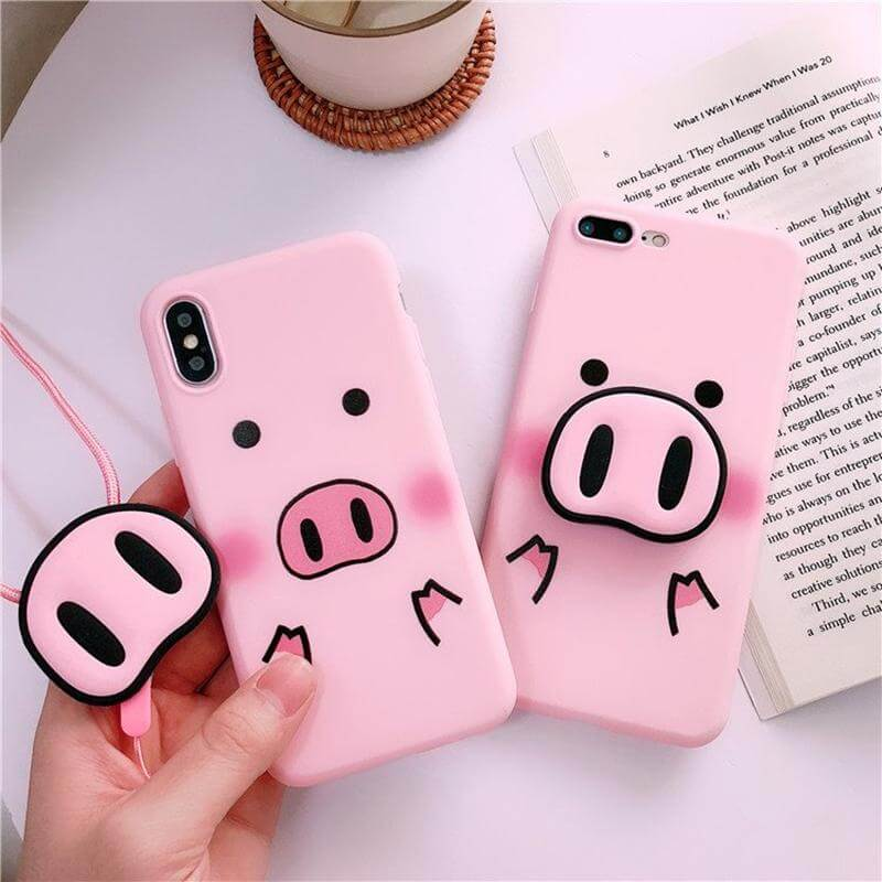 Cute Piggy iPhone Case + PopSocket Holder