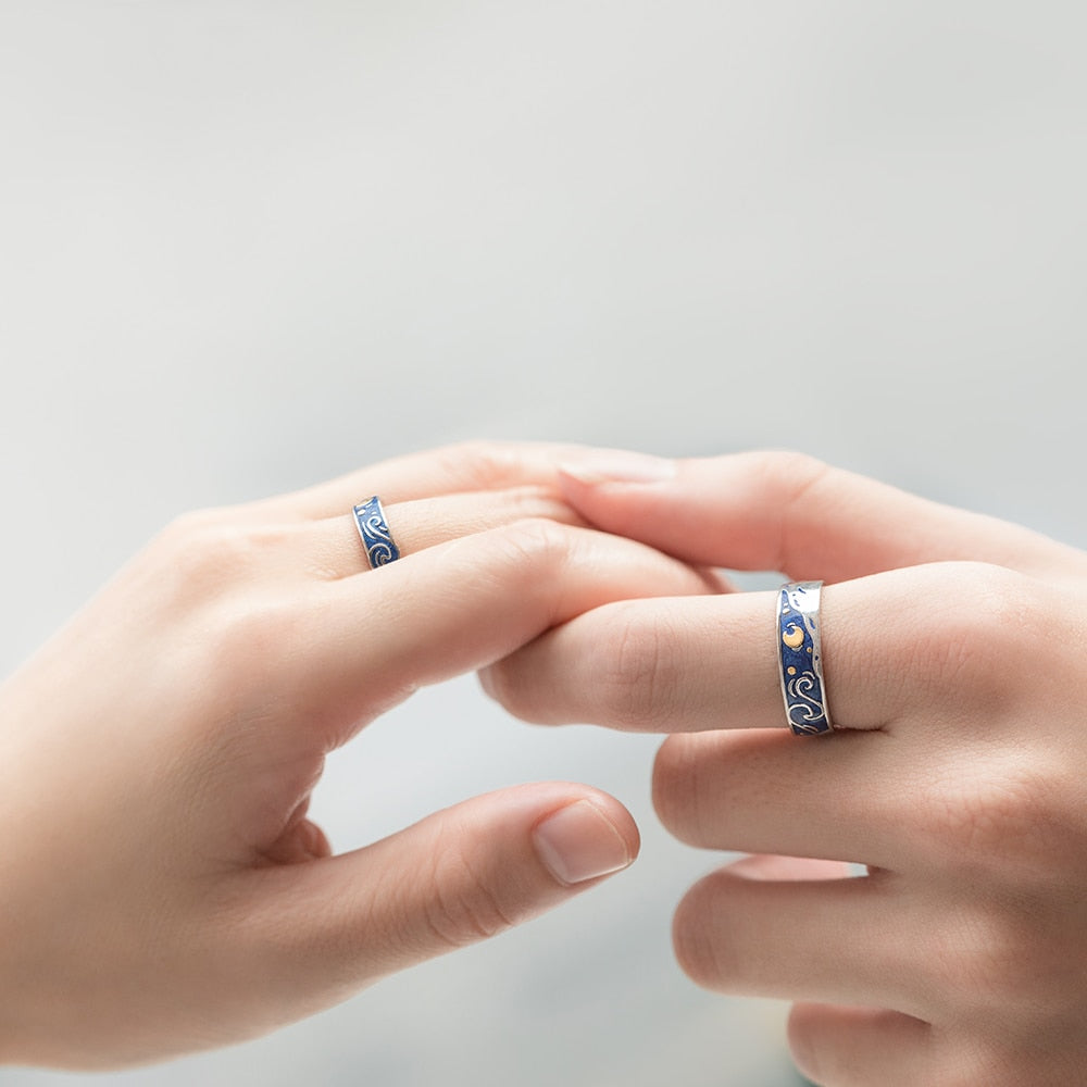 Starry Night Silver Ring - Couple Set