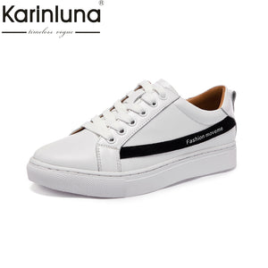 KarinLuna Brand New 2018 Genuine Leather Sneakers Shoes White Women Fashion Spring Leisure Woman Shoes Girls Footwear