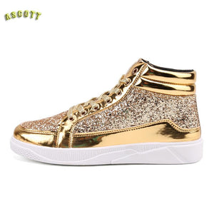 Stylist Hightops Male Personality Martin Boots Casual Shoes Men's Club Gold Silver Bright Shoes Boots