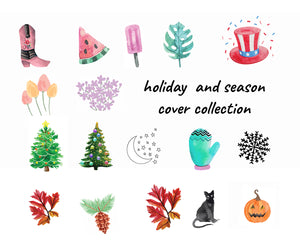 Holiday Theme Instagram Highlight Cover Icons - Halloween and Christmas