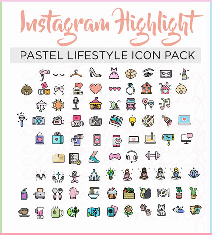 80 Digital Pastel Highlight Cover Icons