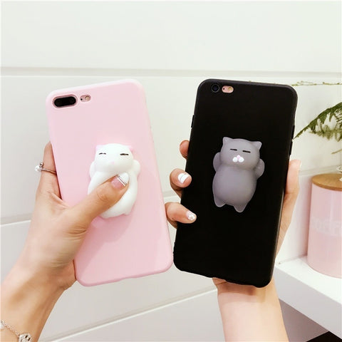 Squishy 3D Pinch Poke Silicone Cat Squishy TPU Case Cover for  Iphone5/5s/se 6/6s 6/6s Plus 7 7plus Samung galaxyS6/S6 EDGE/S7/S