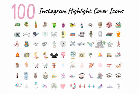 100 Watercolor Instagram Cover Icon Mega Pack