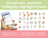 30 Watercolor Travel Theme Cover Icons